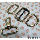 "1 1/4"" Smart Snap Hooks/D Ring/Chunky Oval Rings/Rectangle Slider in Antique Bronze (32mm)"