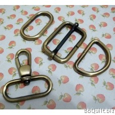 "1 1/4"" Smart Snap Hooks/D Ring/Chunky Oval Rings/Rectangle Slider in Antique Bronze (32mm)"
