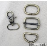 "1"" Smart Snap Hooks/D Ring/Chunky Oval Rings/Rectangle Slider in Antique Bronze (25mm)"
