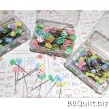 Bow/Flower/Button Flat Head Pins Mixed Colour 100pkg