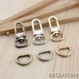 "0.5"" Swivel Snap Hooks + D Ring in Antique Bronze (1.2mm)"