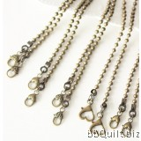 Purse Chain|5.5mm Ball bead chain|Antique Brass|2 sizes|6 style