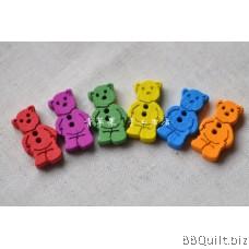 Stock clearance|DIY Craft supplies|Dragonfly Bear Heart|Colour wood Buttons|65pcs/pcks