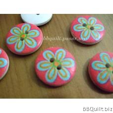Stock clearance DIY Craft supplies Pink Flower wooden buttons 12pcs/pcks 18mm